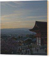 Kyoto And Kiyomizu-dera At Sunset Wood Print