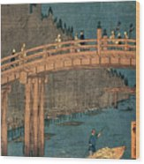 Kyoto Bridge By Moonlight Wood Print