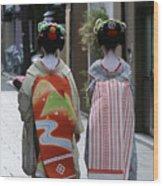 Kyoto Geishas Wood Print