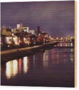 Kyoto Nighttime City Scenery Of Kamo River With Street Lights Re Wood Print