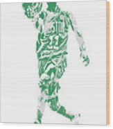 Kyrie Irving Boston Celtics Pixel Art 43 Wood Print