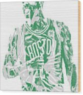 Kyrie Irving Boston Celtics Pixel Art 7 Wood Print