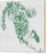 Kyrie Irving Boston Celtics Pixel Art 9 Wood Print
