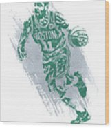 Kyrie Irving Boston Celtics Water Color Art 2 Wood Print