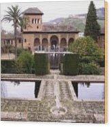 La Alhambra Garden Wood Print
