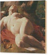 La Bacchante Wood Print by Gustave Courbet