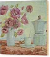 La Caffettiera E I Fiori Amaranto Wood Print
