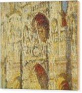 La Cathedrale De Rouen Le Portail Et La Tour Saint-ro Claude Oscar Monet Wood Print