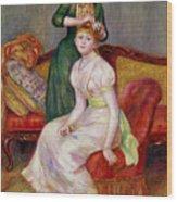 La Coiffure Wood Print by Renoir
