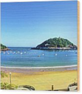 La Concha Bay San Sebastian Wood Print
