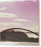 La Conner Rainbow Bridge-  By Linda Woods Wood Print