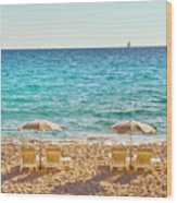 La Croisette Beach, Cannes, Cote D'azur, France Wood Print by John Harper