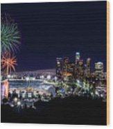 La Dodger Fireworks Wood Print