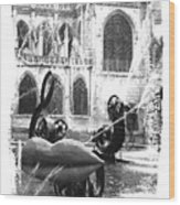 La Fontaine Stravinski In Black And White Wood Print