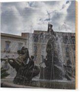La Fontana Di Diana - Fountain Of Diana Silver Jets And Sky Drama Wood Print