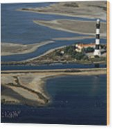 La Gacholle Lighthouse Surrounded With Blue Sea In Camargue Wood Print by Sami Sarkis