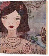 La Jolie Poupee Et L' Oiseau Wood Print