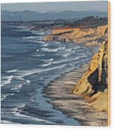 La Jolla Cliffs Over Blacks Wood Print