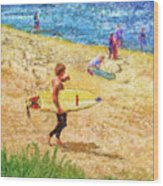 La Jolla Surfers Wood Print by Marilyn Sholin