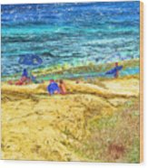 La Jolla Surfing Wood Print by Marilyn Sholin