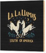 La La Llamas Wood Print