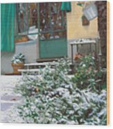 La Neve A Casa Wood Print by Guido Borelli