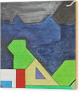 La Notte Sopra La Citta Verde - Part Iv Wood Print