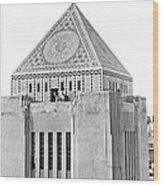 La Public Library Tower Mosaic Wood Print