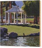La Quinta Park Lake And Gazebo Wood Print
