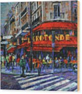 La Rotonde Paris Modern Impressionist Palette Knife Oil Painting Wood Print