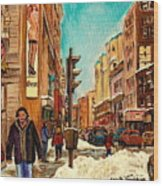 La Senza St Catherine Street Downtown Montreal Wood Print