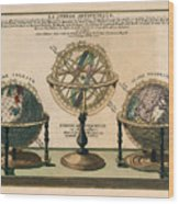 La Sphere Artificielle - Illustration Of The Globe - Celestial And Terrestrial Globes - Astrolabe Wood Print
