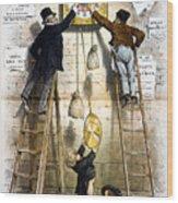 Labor Movement. Editorial Cartoon Wood Print