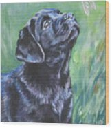 Labrador Retriever Pup And Dragonfly Wood Print by Lee Ann Shepard