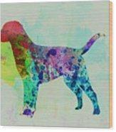 Labrador Retriever Watercolor Wood Print by Naxart Studio