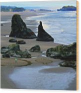 Labyrinths At Bandon Beach Wood Print