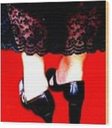 Lace Dress Uneven Heels Wood Print