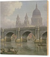 Blackfriars Bridge And St Paul's Cathedral Wood Print