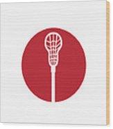 Lacrosse Stick Circle Icon Wood Print