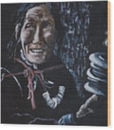 Ladakhi Woman Spinning A Prayer Wheel Wood Print