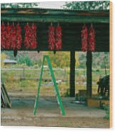 Ladder And Ristras Sopyn's Fruit Stand Rinconada Nm Wood Print