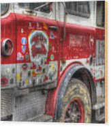 Ladder Truck 152 - In Remembrance Of 9-11 Wood Print by Eddie Yerkish