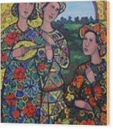 Ladies And The Arlequin Wood Print