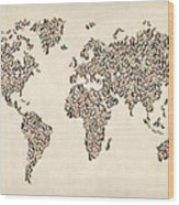 Ladies Shoes Map Of The World Map Wood Print by Michael Tompsett