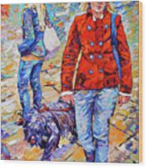 Lady  And Dog Wood Print