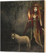 Lady And The Wolf Wood Print