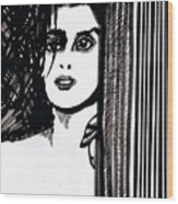 Lady At The Door Wood Print