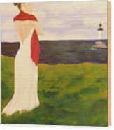 Lady At The Ocean Wood Print