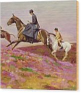 Lady Currie With Her Sons Bill And Hamish Hunting On Exmoor  Wood Print