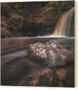 Lady Falls Waterfall Country Wood Print